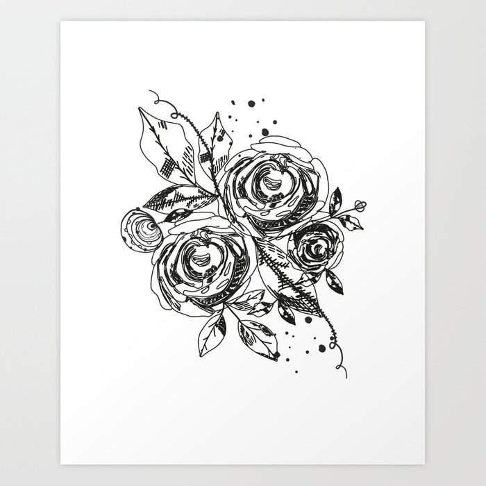 Abstract Rose Silhouette Triangle Geometric Shapes And Rose Summer Time Abstract Black Flowers Art Print By Gulsengunel