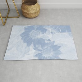 Delicate white butterflies and denim blue flowers in abstract fractal Rug