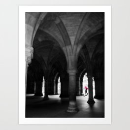 Doctor Flashart with Red Umbrella at University of Glasgow Art Print