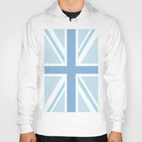 union jack Hoodies featuring Blue Union Jack by Alesia D