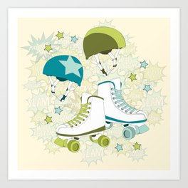 Roller Derby Rumble Art Print