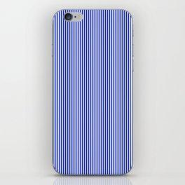 Cobalt Blue and White Vertical Nautical Sailor Stripe iPhone Skin