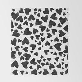 Modern black watercolor love hearts simple pattern Throw Blanket