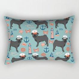 Pug nautical sailing pattern dog breed pet portrait pet friendly dog art Rectangular Pillow