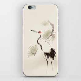 Oriental Red-Crowned Crane 002 iPhone Skin