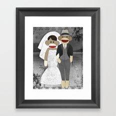 Sock Monkey Wedding Framed Art Print