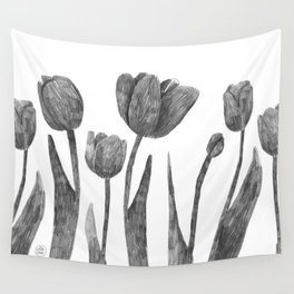 Graphite Tulips Wall Tapestry