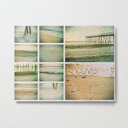 Lo-fi Oceanic Pier Wrightsville Beach NC Sunrise Vintage Tones Collage Metal Print