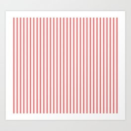 Mattress Ticking Narrow Striped Pattern in Red and White Art Print