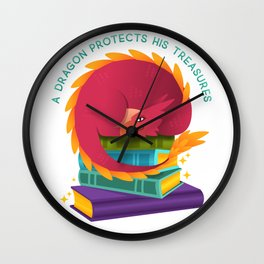 A Dragon Protects His Treasures (books) Wall Clock
