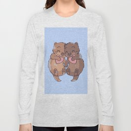 Otter couple in love floating and holding Long Sleeve T-shirt