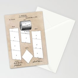 patent art Wheeler Toilet paper roll 1890 Stationery Cards