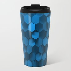 Blue hexagon abstract pattern Travel Mug