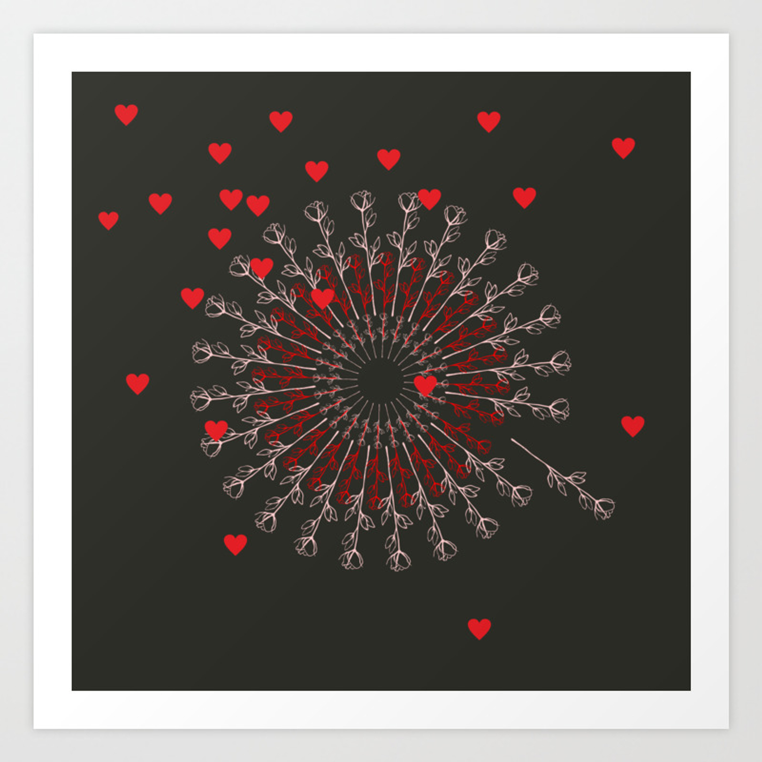 Gift For Love Anniversary Black Red Hearts And Roses Art Print By Shamanshore Society6