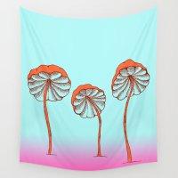 mushrooms Wall Tapestries featuring mushrooms by terastar