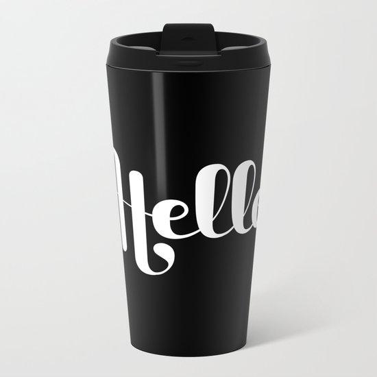 Hello Lettering Metal Travel Mug