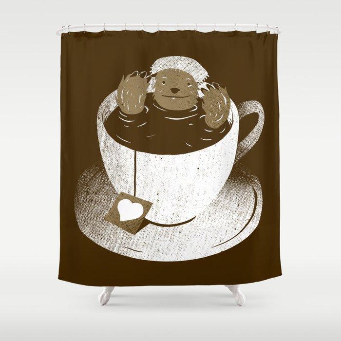 Monday Bath Sloth Coffee Shower Curtain