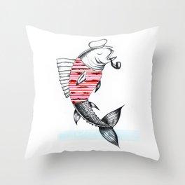 Smoking Fish Throw Pillow
