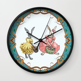 Dressed Easter bunnies 2a Wall Clock
