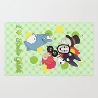 studio ghibli Area & Throw Rugs featuring I ♥ Studio Ghibli by Lacis