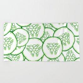 Cucumber slices pattern design Beach Towel
