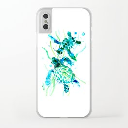 Sea Turtles, Turquoise blue Design Clear iPhone Case
