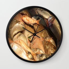 Variety of Fresh Fish Seafood on Ice Wall Clock