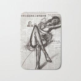 Brave - Charcoal on Newspaper Figure Drawing Bath Mat