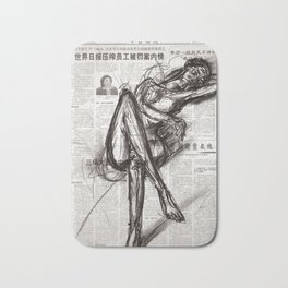 Brave - Charcoal on Newspaper Figure Drawing Bath Mat