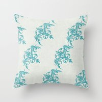 teal Throw Pillows featuring Teal by Juste Pixx Designs