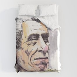 Charles Bukowski portrait in watercolor and ballpoint by McHank Duvet Cover