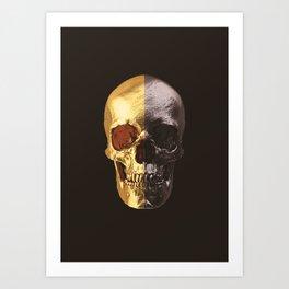 Gold & Black Scull Art Print