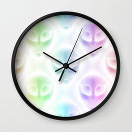 Alien Heads Rainbow Colors White Glow Wall Clock