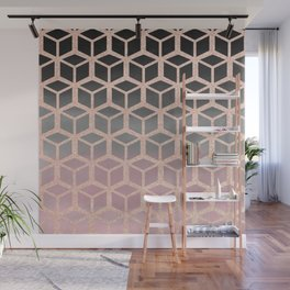 mauve ombre with rose gold hexagons Wall Mural