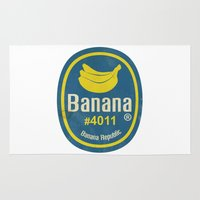 sticker Area & Throw Rugs featuring Banana Sticker On White by Karolis Butenas
