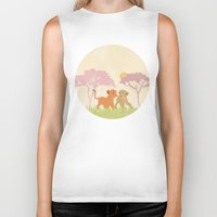 lions Biker Tanks featuring two lions..  by studiomarshallarts