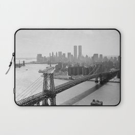 Williamsburg Bridge, East River at South Sixth St. & Twin Towers, New York City skyline photograph Laptop Sleeve