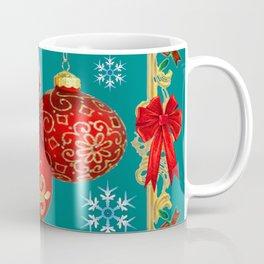 TEAL COLOR RED CHRISTMAS  ORNAMENTS &  POINSETTIAS FLOWER Coffee Mug