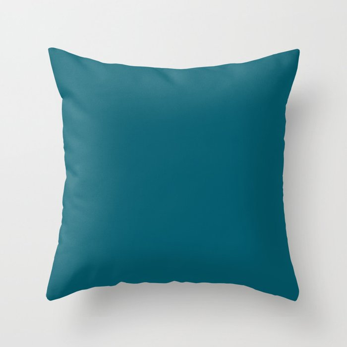 Inspired by Sherwin Williams 2020 Trending Color Oceanside (Dark Turquoise) SW6496 Solid Color Throw Pillow