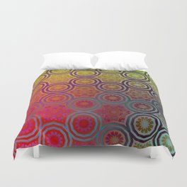 Pink, Purple, Yellow, and Orange Circles and Cogs Duvet Cover