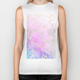 Modern rainbow glitter marble on nebula watercolor ombre Biker Tank