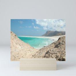 Tropical Beach with Cliff Landscape Seascape Mini Art Print