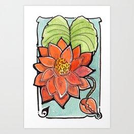 Apricot Lotus Art Print