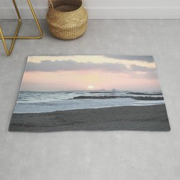 Beach Sunset Modern and Vintage Beach Aesthetic Photography of Newport Beach Colorful Pink Blue Sky Rug