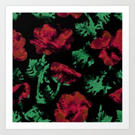 Abstract pattern . Red poppies. Art Print