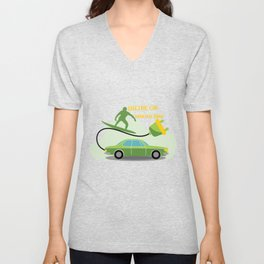 Driving Electric Car Automobile Vehicle Green Gift Unisex V-Neck