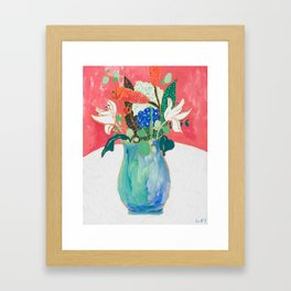 Bouquet of Flowers in Alexandrite Inspired Vase against Salmon Wall Framed Art Print