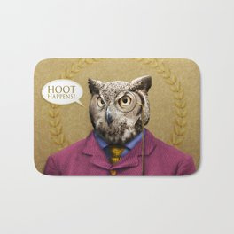 "Mr. Owl says: ""HOOT Happens!"" Bath Mat"