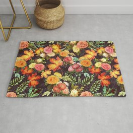 Autumn Flowers and Leaves Rug