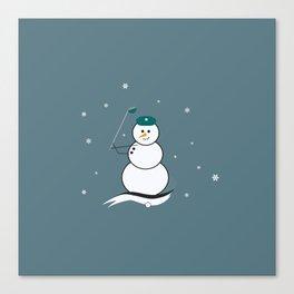 Golfing Snowman Canvas Print